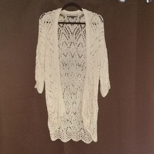 American Eagle White Crochet Cardigan